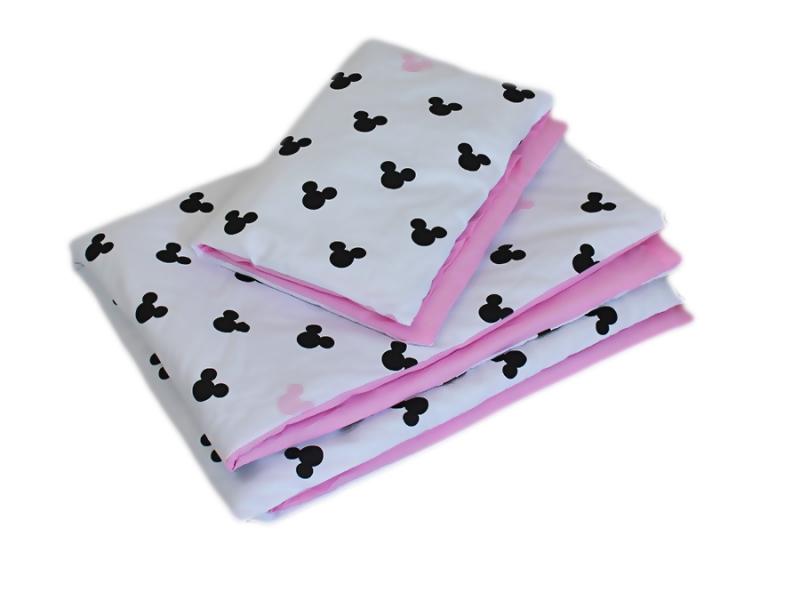 Baby Nellys Mantinel pletený cop s povlečením Mickey, 135x100 - černá, bílá, růžová