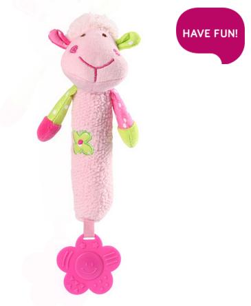 BabyOno Plyšová hračka s pískátkem a kousátkem Sweet Lambie - růžová