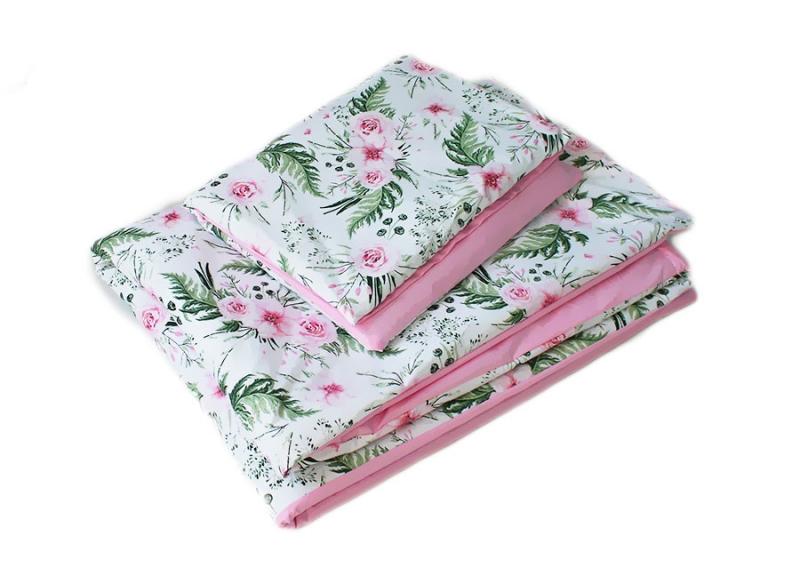 Baby Nellys 2-dílné povlečení Květinky, bavlněné - růžová, bílá s potiskem