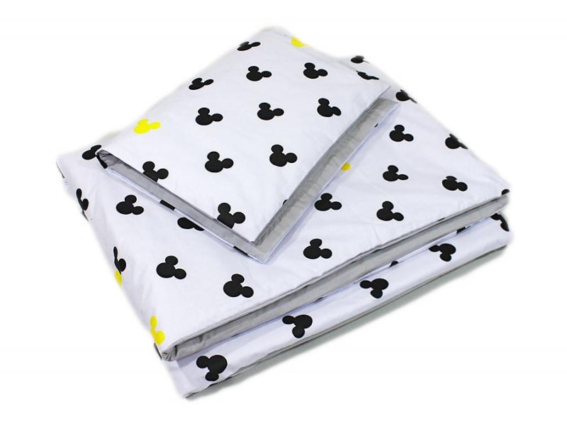 Baby Nellys 2-dílné povlečení 135x100, Mickey, bavlněné - šedá, žlutá, B19, Velikost: 135x100