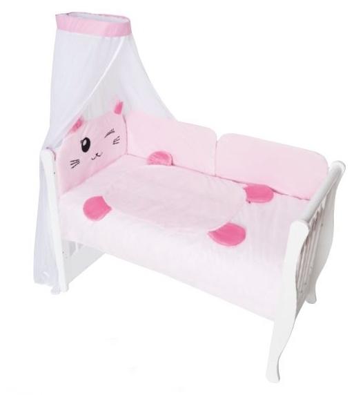 Baby Nellys Mantinel s povlečením a nebesy Animal, 120x90 - Kočička růžová