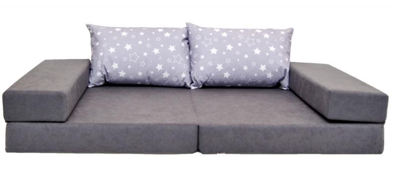 NELLYS Rozkladací dětská pohovka 3 v 1 - P26 - Magic stars šedá - bílé hvězdičky,