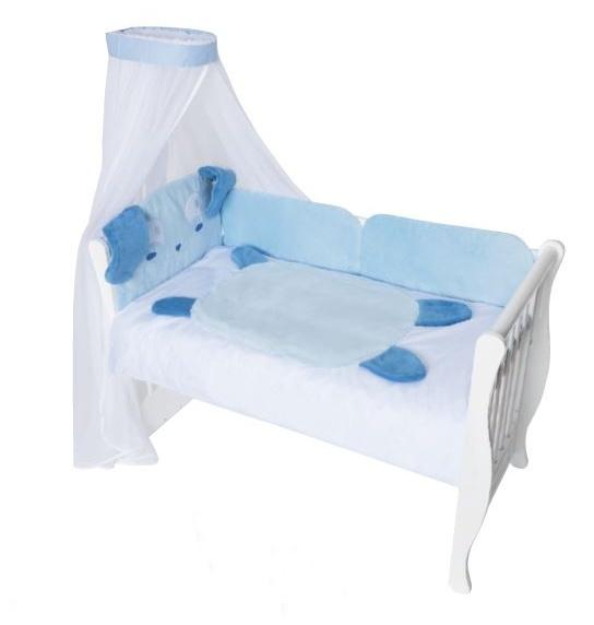 Baby Nellys Mantinel s povlečením a nebesy Animal, 120x90 - Pejsek modrý