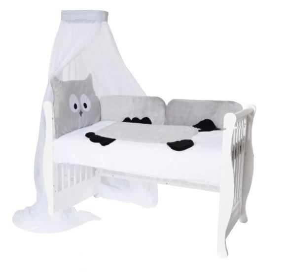 Baby Nellys Mantinel s povlečením a nebesy Animal, 120x90 - Sova šedá