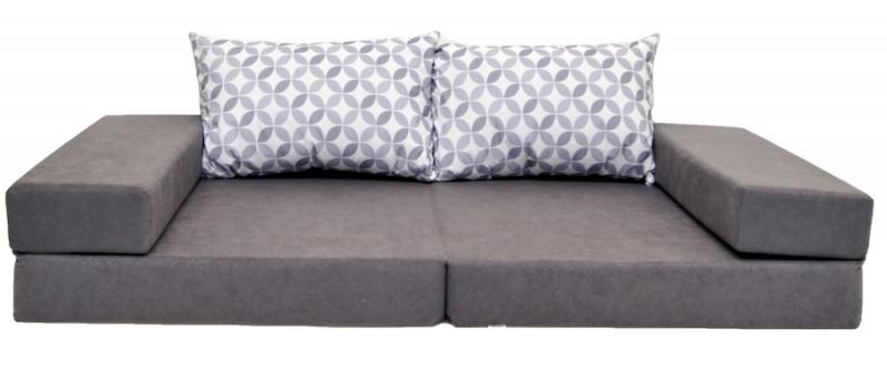NELLYS Rozkladací dětská pohovka 3 v 1 - P31 - Ornamenty, šedá/bílá
