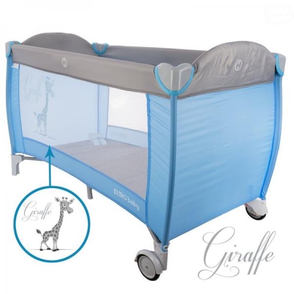 Dětská cestovní postýlka Giraffe - šedá, modrá