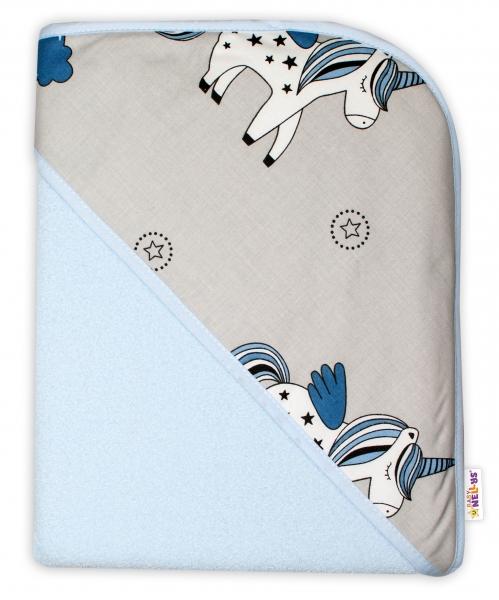 Baby Nellys Dětská termoosuška s kapucí Jednorožec, 100 x 100 cm  - modrá