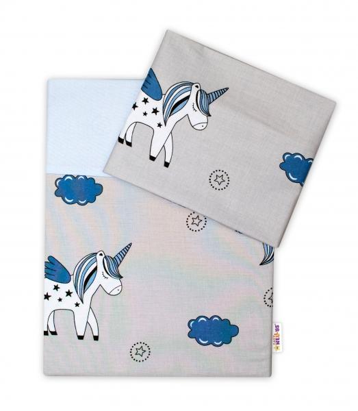 Baby Nellys 2-dílné bavlněné povlečení Jednorožec - šedá/modrá