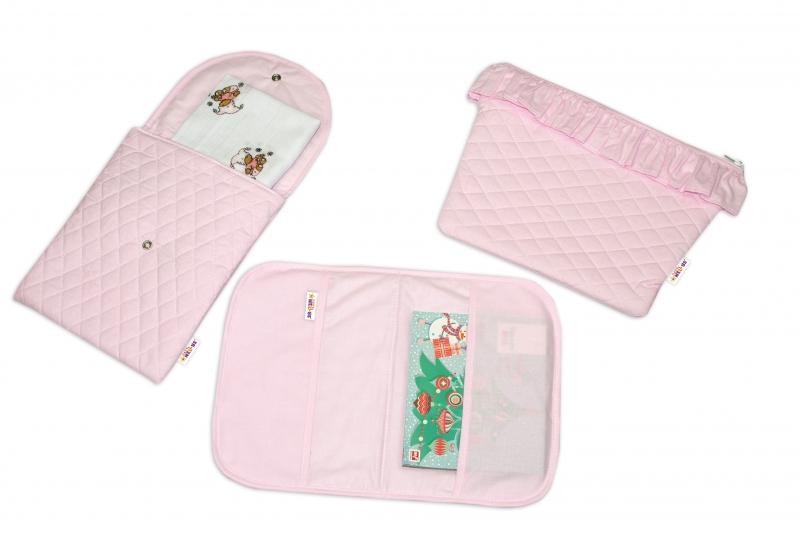 Baby Nellys  Sada příručních tašek, prošívaná - růžová, 3ks