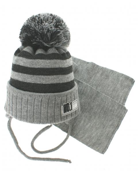 BABY NELLYS Zimní pletená čepička s šálou No.1 Team - proužky šedá/grafit