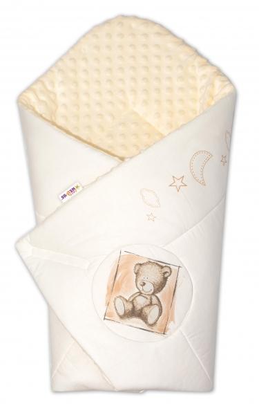 Baby Nellys Zavinovačka, bavlněná s minky 75x75cm by Teddy -  písková, smetanová