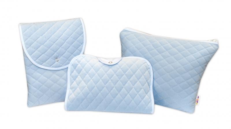 Sada příručních tašek, prošívaná - modrá, 3ks