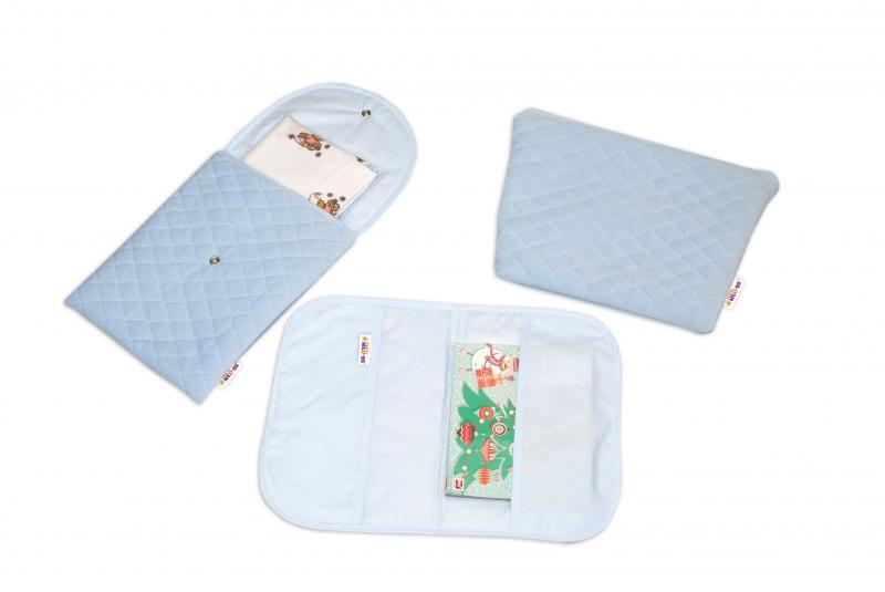 Baby Nellys  Sada příručních tašek, prošívaná - modrá, 3ks