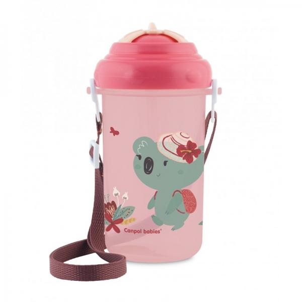 Canpol babies Sportovní láhev se slámkou Adventure - Koala růžová