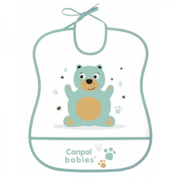 Canpol babies Plastový bryndák s kapsičkou Cute Animals - Medvídek