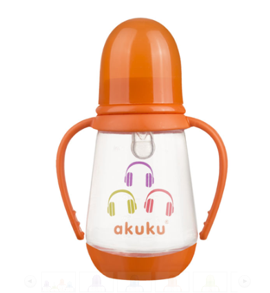 AKUKU Lahvička 125 ml  Sluchátka - oranžová