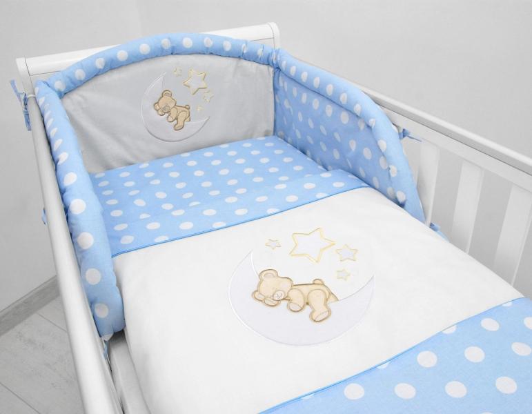 Darland Mantinel s povlečením a výšivkou Medvídek na měsíčku - Puntíky modré, 135x100