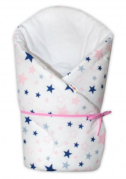 Baby Nellys Zavinovačka na zavazování Hvězdy a hvězdičky - růžová/granát na bílém