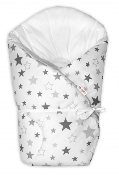 Baby Nellys Zavinovačka na zavazování Hvězdy a hvězdičky - šedá/grafit na bílém