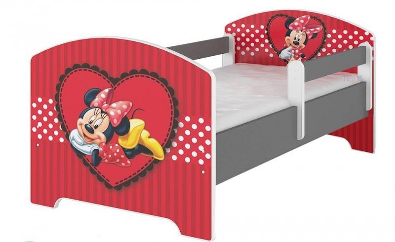 Dětská postel Disney, 160x80  - Minnie Srdíčko - bez zábran