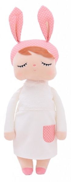 Hadrová panenka XL s oušky v bílých šatičkách, 70cm