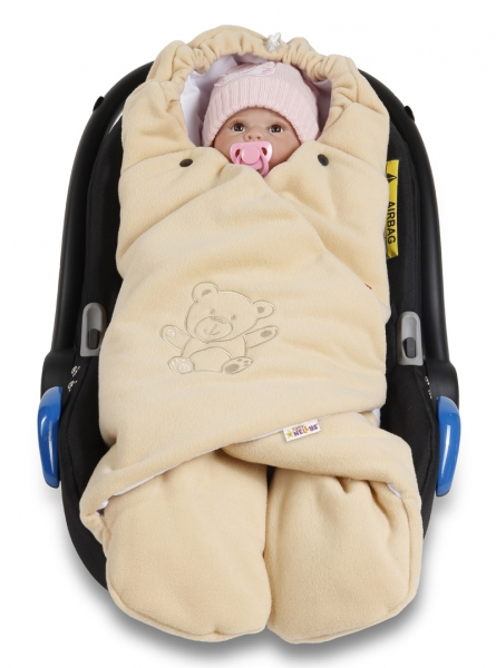 Baby Nellys Dětská zavinovačka, fusák polar, bio bavlna - béžová