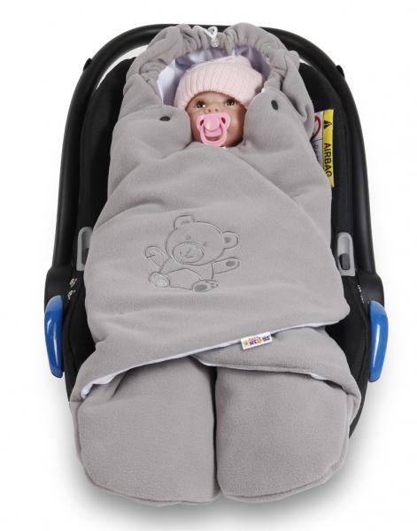 Baby Nellys Dětská zavinovačka, fusák polar, bio bavlna - šedá