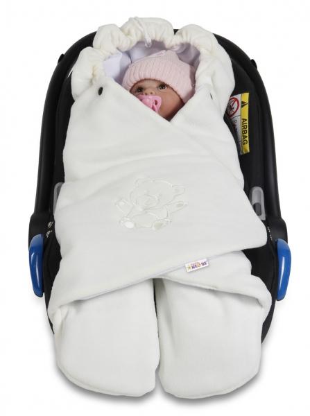 Baby Nellys Dětská zavinovačka, fusák polar, bio bavlna - smetana