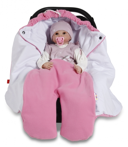 Baby Nellys Dětská zavinovačka, fusák polar, bio bavlna - růžová