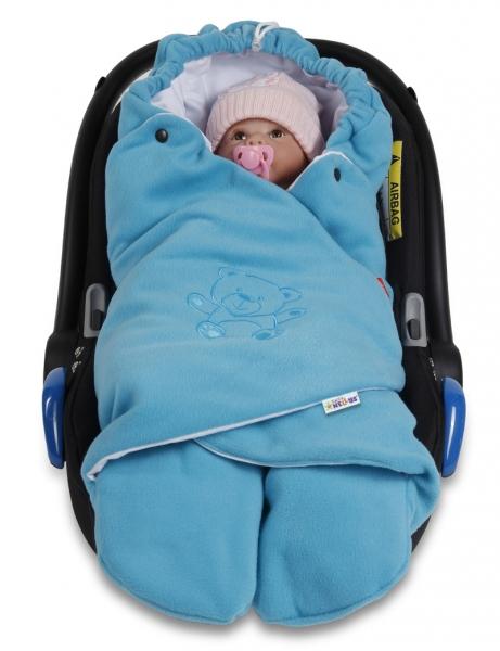 Dětská zavinovačka, fusák polar, bio bavlna - modrá