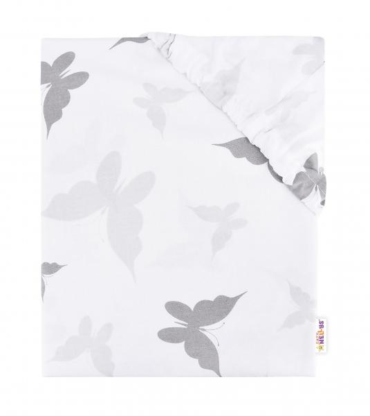 Baby Nellys Dětské bavlněné prostěradlo do postýlky. 140x70 cm - Motýlci - šedé