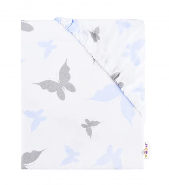 Baby Nellys Dětské bavlněné prostěradlo do postýlky, 140x70 cm - Motýlci - modrá