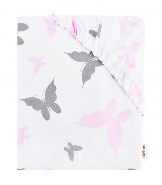Baby Nellys Dětské bavlněné prostěradlo do postýlky, 140x70 cm - Motýlci - růžové