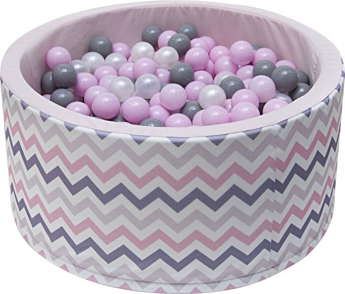 NELLYS Bazén pro děti 90x40cm - zig zag růžový, šedá, béžová s balónky, Ce19