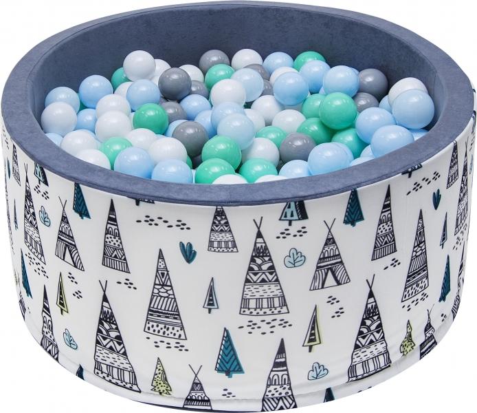 NELLYS Bazén pro děti 90x40cm - týpí, šedý s balónky, Ce19