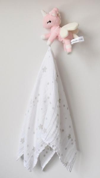 Mini plyšový jednorožec Metoo s mušelínovou plenkou - růžovo/bílý, 12cm