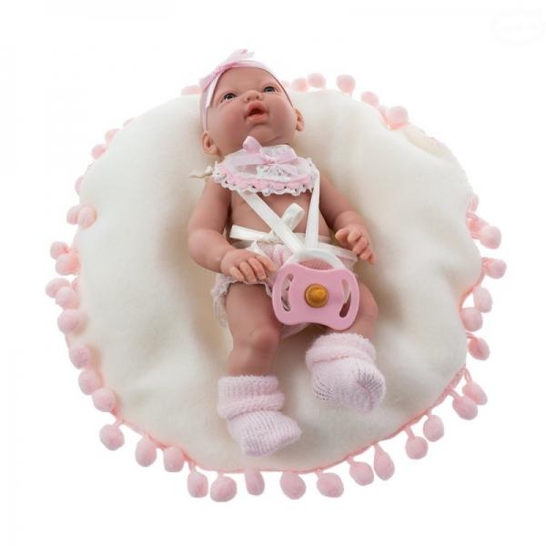 Panenka 20 cm, mini Baby na polštářku - růžová