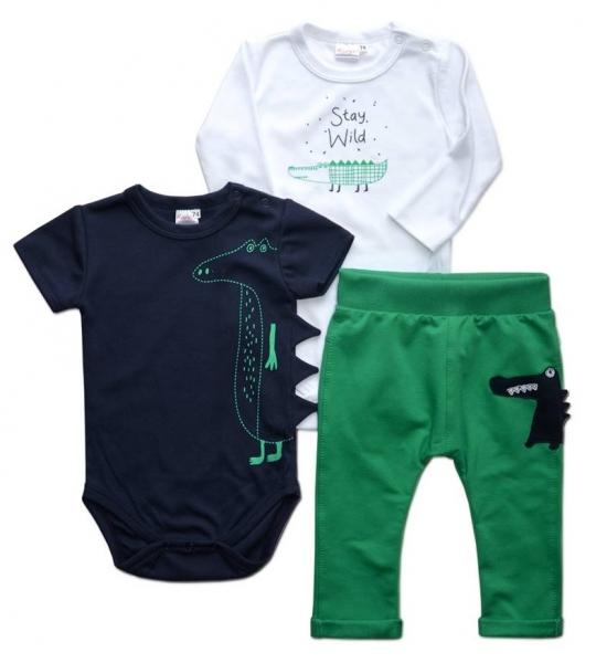 K-Baby Sada 1 x body dl. rukáv, 1 x body kr. rukáv + 1 x tepláčky - Krokodýl, vel. 80vel. 80 (9-12m)
