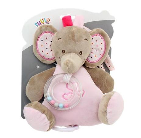 Závěsná plyšová hračka s melodií Slon, 18 cm - růžový