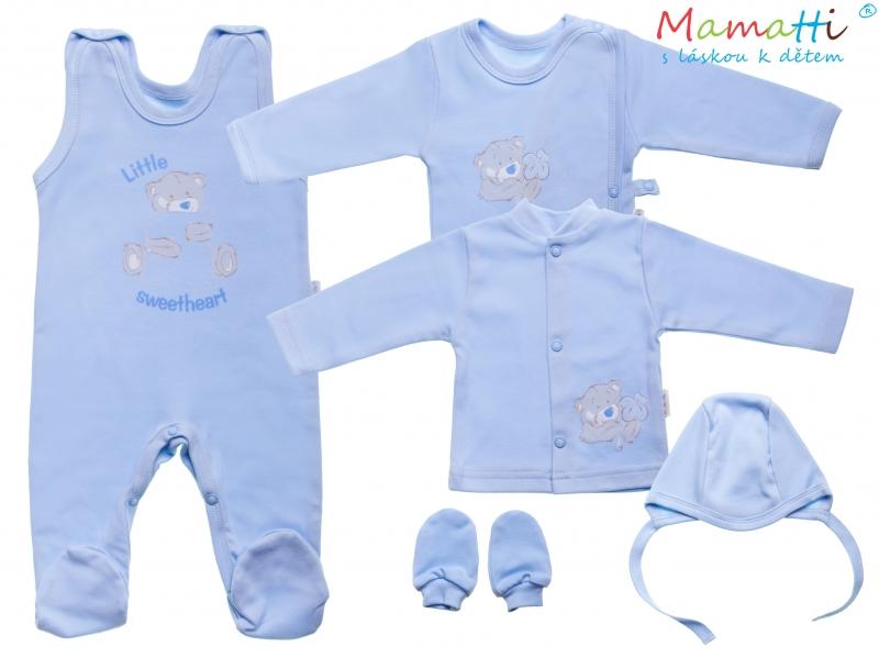 Soupravička do porodnice v krabičce Medvídek Sweetheart, modrá, Velikost: 56 (1-2m)