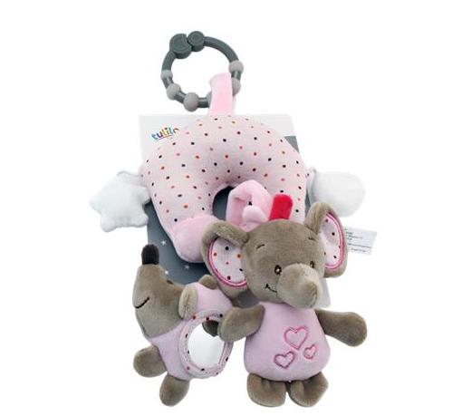 Závěsná plyšová hračka Sloník, 38 cm - růžový