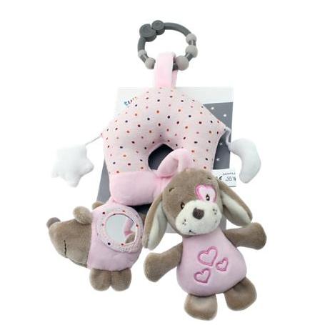 Závěsná plyšová hračka Pejsek, 38 cm - růžový