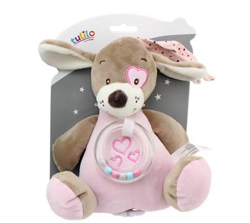 Závěsná plyšová hračka s melodií Pejsek, 18 cm - růžový