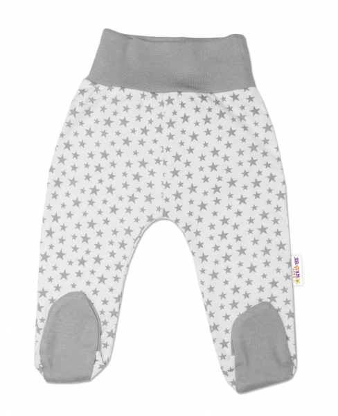 Bavlněné kojenecké polodupačky Baby Nellys ® - smetanové, mini hvězdičky - šedé, vel. 62