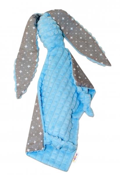Baby Nellys  Mazlík, přítulníček Králíček, minky + bavlna, 43x40 cm - modrý