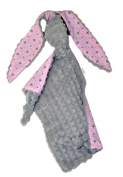 Baby Nellys  Mazlík, přítulníček Králíček, minky + bavlna, 43x40 cm - šedý/růžový