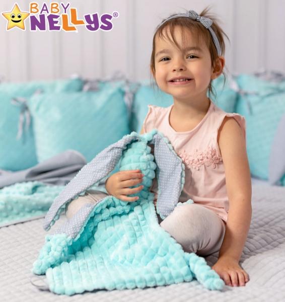 Baby Nellys  Mazlík, přítulníček Králíček, minky + bavlna, 43x40 cm - mátový