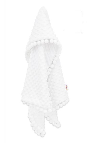 Baby Nellys Luxusní dečka Minky s bambulkami 100x75cm - bílá/bílé bambulky