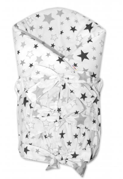 Baby Nellys Klasická šněrovací zavinovačka Hvězdy a hvězdičky - šedá/grafit na bílém