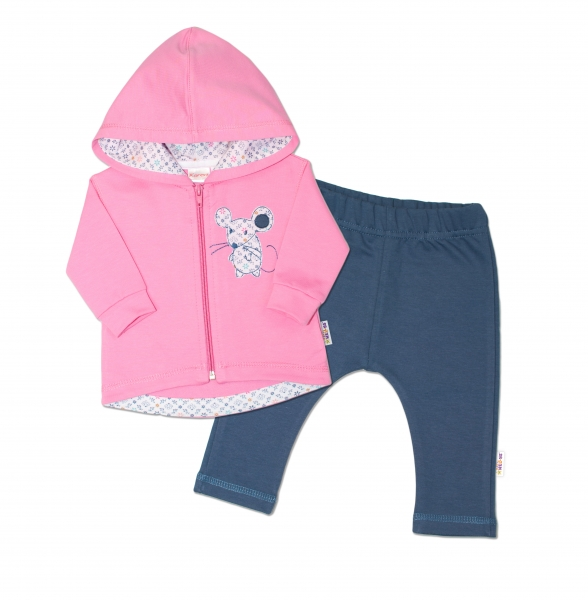 Tepláková souprava s kapucí Myška - růžová/jeans, vel. 80